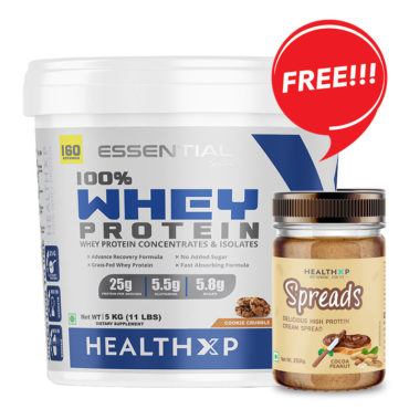 HealthXP 100% Whey Protein 5Kg +spread