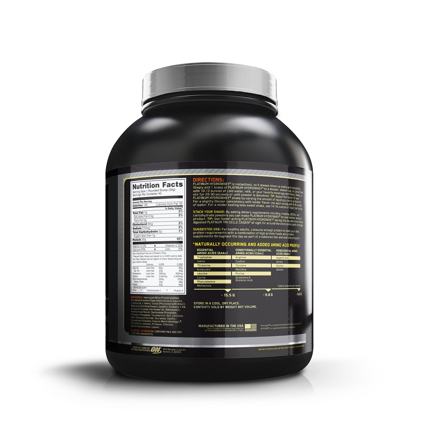 Optimum-Nutrition-ON-Platinum-Hydro-Whey-–-3.5-lbs nutritional facts
