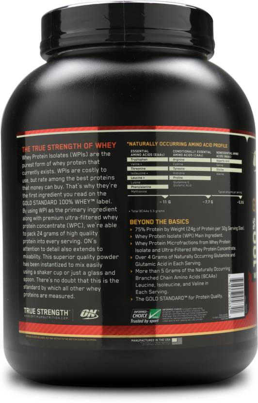 ON (Optimum Nutrition) Gold Standard 100% Whey Protein 5Lbs supplement facts
