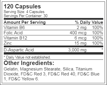 Nutrex T-UP, 120 capsules Unflavoured supplements facts