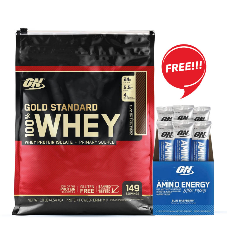 ON (Optimum Nutrition) Gold Standard 100% Whey Protein 10Lbs + FREE ON Essential Amino Energy Individual Sticks, Pack of 6 ( Assorted Flavour )