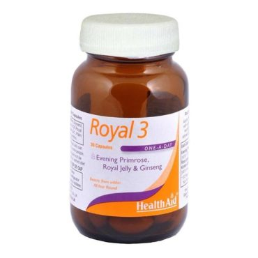 HealthAid Royal 3 (Evening Primrose, Royal Jelly & Ginseng), 30 capsules