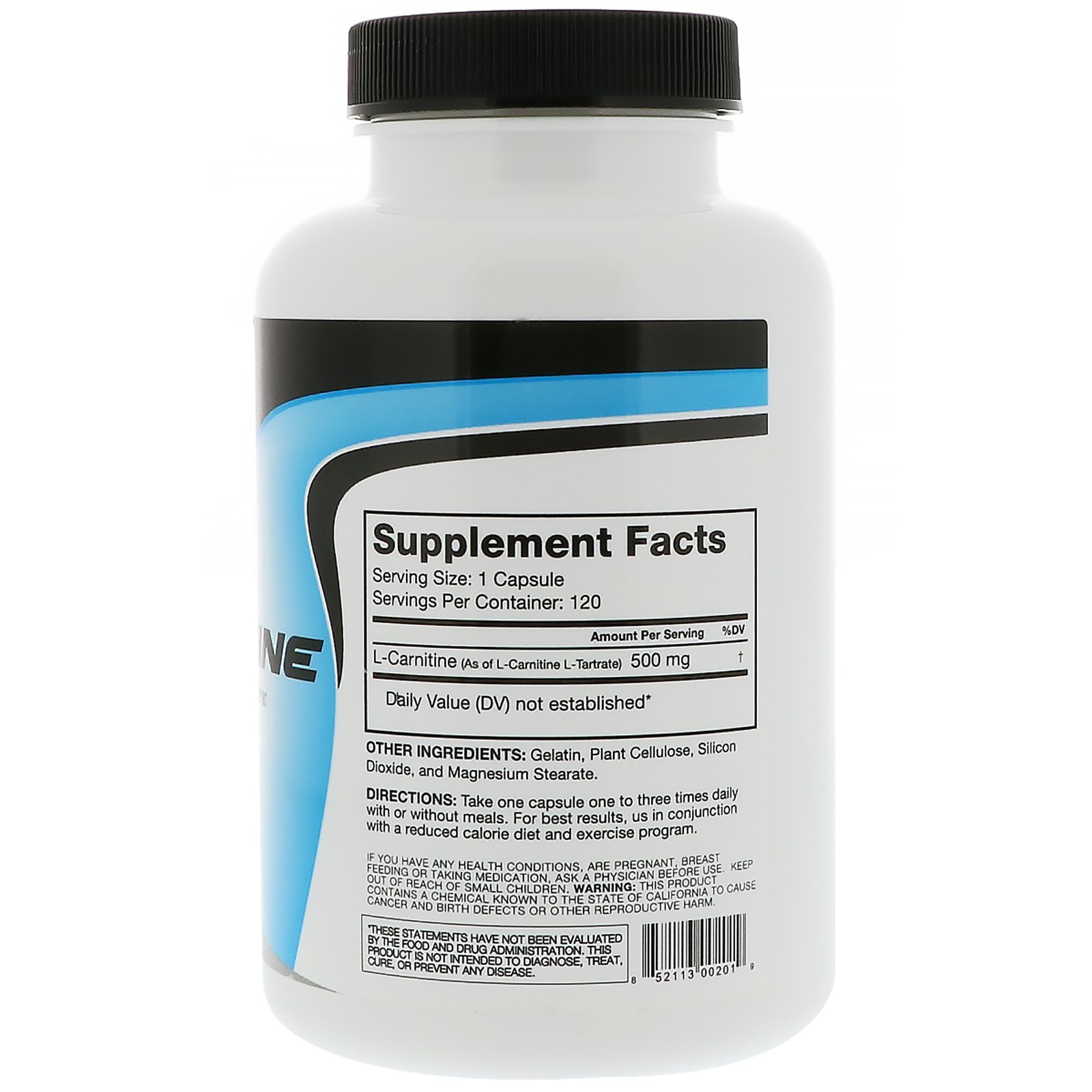 RSP Nutrition L-Carnitine, 120 capsules Unflavoured(Expiry May-2020) supplements facts