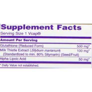 Now Glutathione (500mg), 60 veggie capsule(s) supplement facts
