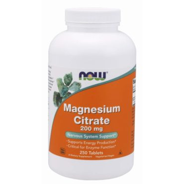 Now Magnesium Citrate (200mg), Unflavoured 250 tabs