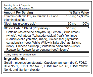 BPI Sports RoxyLean (60 Capsules) Nutritional facts