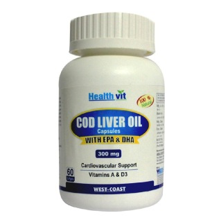 Healthvit Cod Liver Oil 300 mg (EPA & DHA), 60 softgels