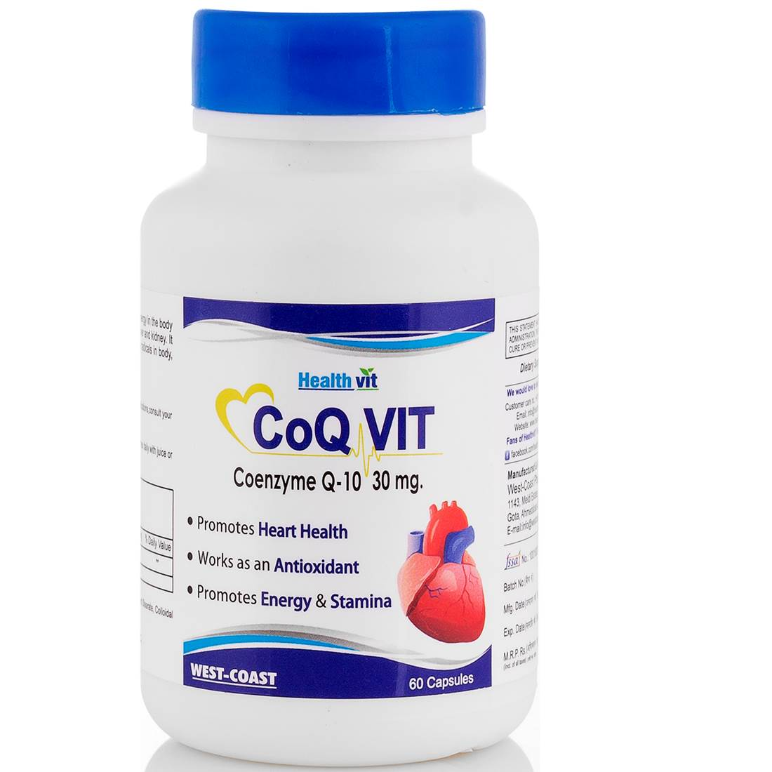 Buy Healthvit CoQ Vit Coenzyme Q-10 30mg 60caps