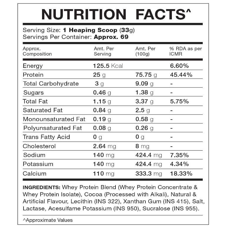 IN2 Nutrition Whey Protein 5 LBS Nutrition Facts
