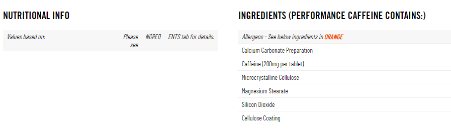 The-Protein-Works-Pure-Performance-Caffeine-180-tablets ingredients and Nutritional facts