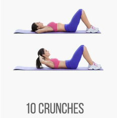 image of a girl demonstrating half crunches