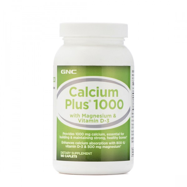GNC Calcium Plus 1000 with Magnesium and Vitamin D3 180 Caplets
