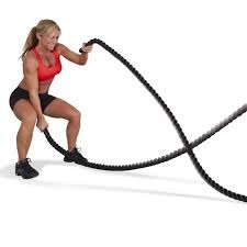 Image of a girl doing battle rope