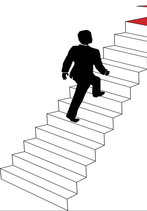 Vector image of man climbing the stairs