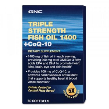GNC Triple Strength Fish Oil -1400 With CoQ-10 60 Softgels