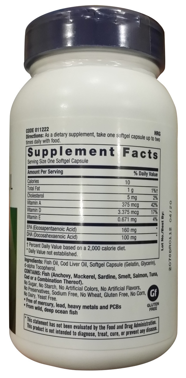 GNC Cod Liver Oil - 90 Softgels Supplement facts