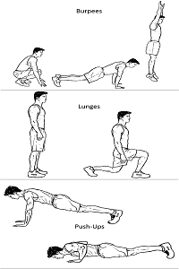 Burpees, Lunges, Pushups