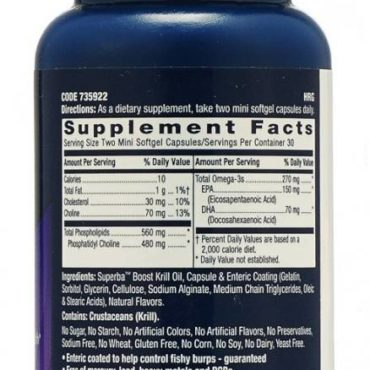 GNC-Triple-Strength-Krill-Oil 60 capsules supplement facts