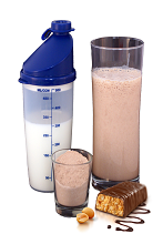 protein shake and protein bar, meal 3