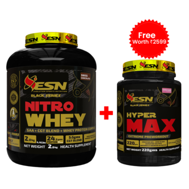 ESN Nitro Whey (4.4 lbs) Swiss Chocolate + ESN Hyper Amino Max (220g) Bubble Gum Free worth Rs2599