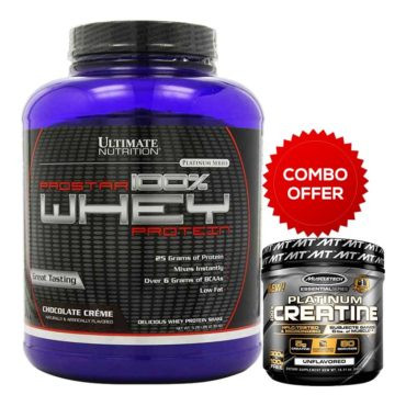 Ultimate Nutrition Prostar 100% Whey Protein 5.28lb - Chocolate Cream + MuscleTech Platinum 100% Creatine, Unflavoured 0.88 lb