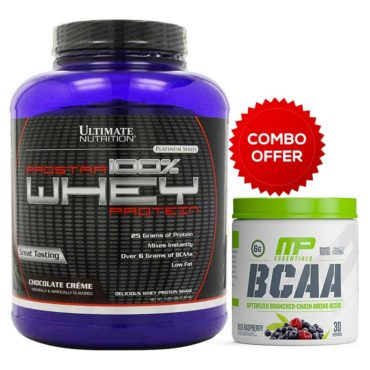 Ultimate Nutrition Prostar 100% Whey Protein 5.28lb - Chocolate Cream + Musclepharm BCAA Powder 30 Serving
