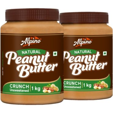 Alpino Natural Peanut Butter Crunch 1 KG (Pack Of 2)