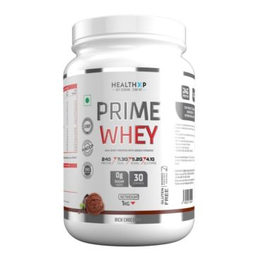 HealthXP Prime Whey 1Kg, ( 2.2 Lbs ) 100% Whey Protein With Added Vitamins