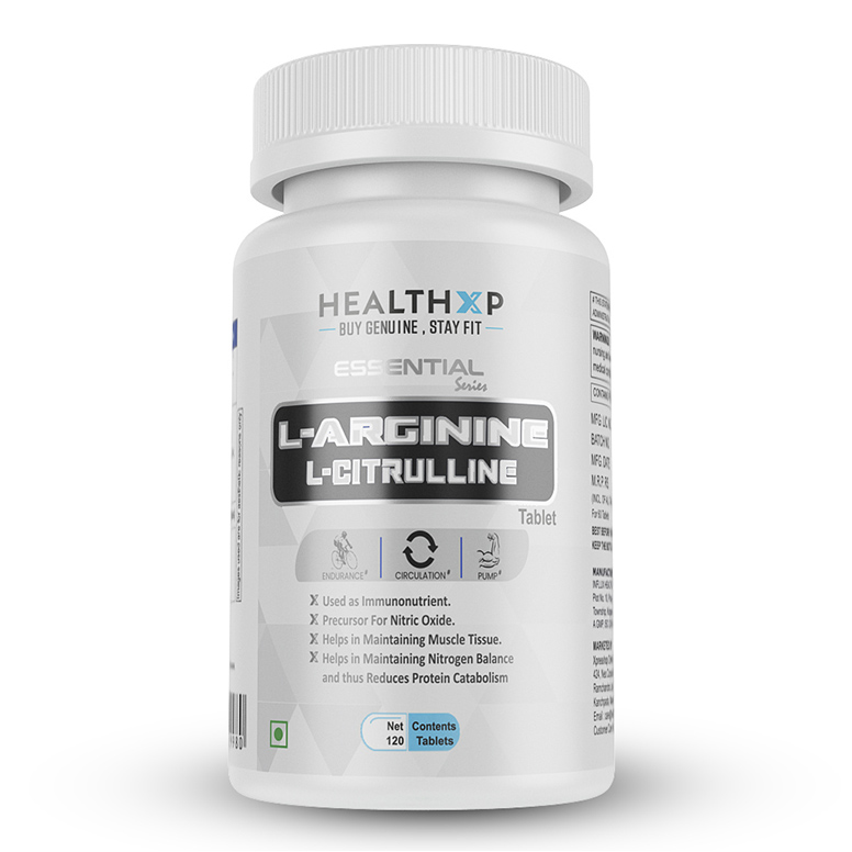 HealthXP Essential Series L-Arginine + L-Citrulline 1000mg, 120 Tablets