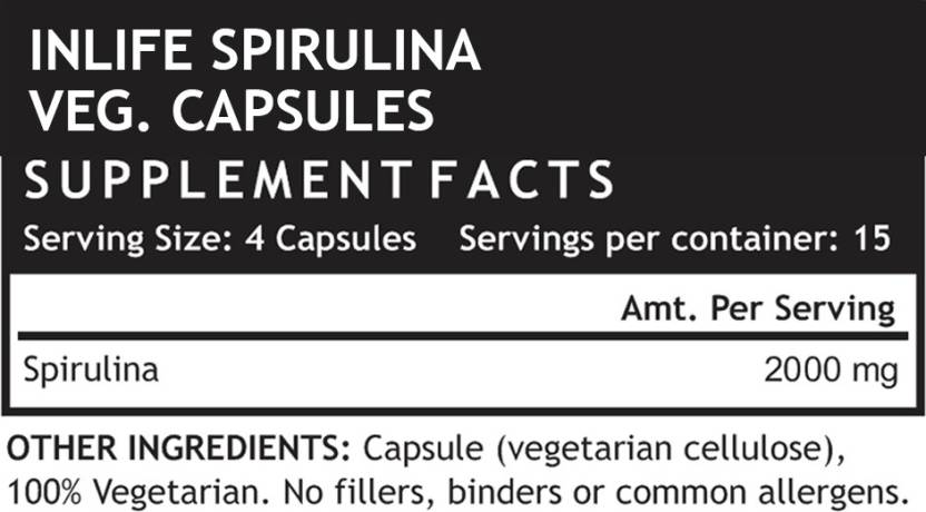 INLIFE Spirulina 500mg, 60 Capsules Supplement facts