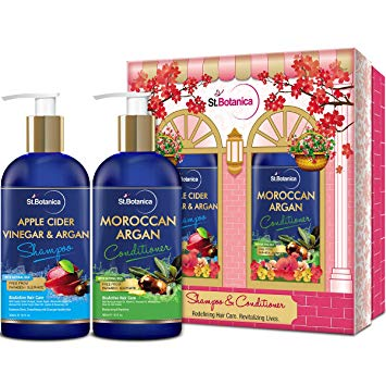 StBotanica Apple Cider Vinegar & Organic Argan Oil Hair Shampoo + Argan Hair Conditioner, 300ml