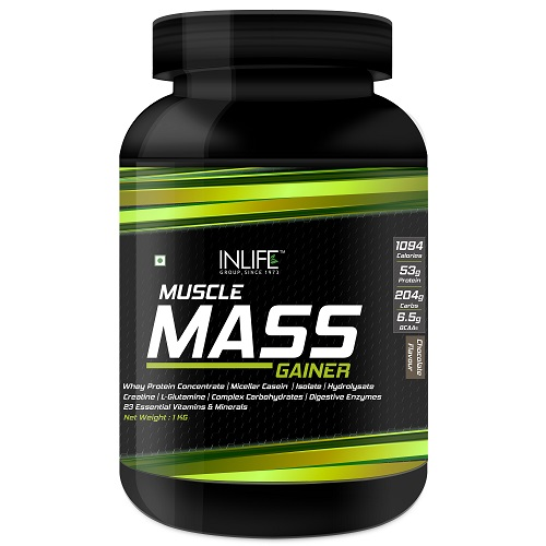 INLIFE Muscle Mass Gainer with Whey Protein, 1kg