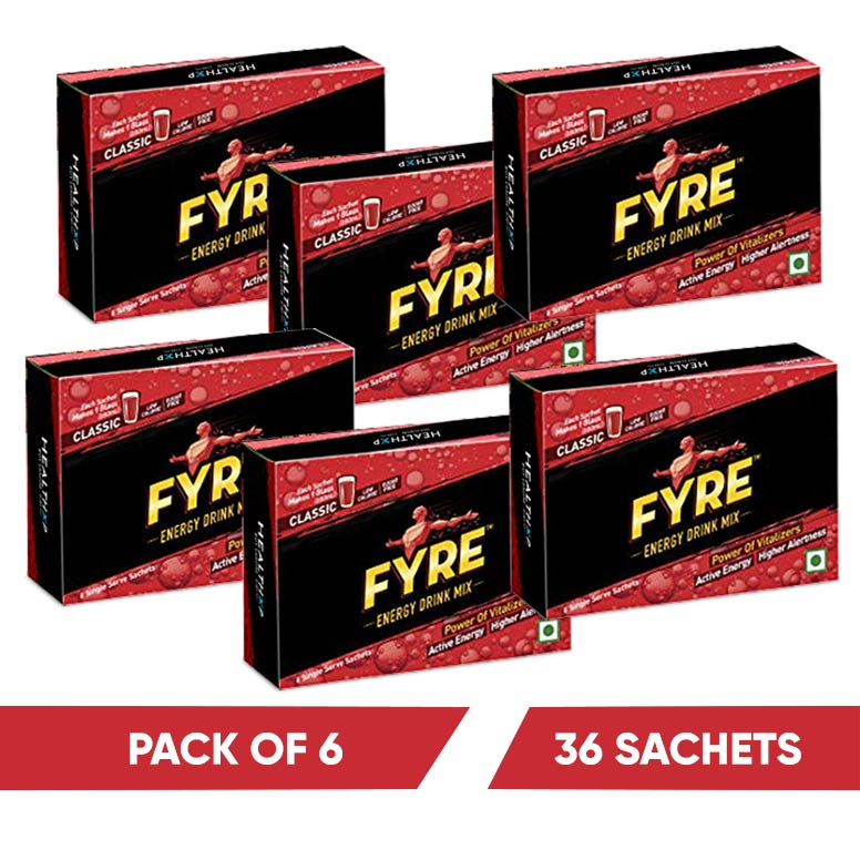 Fyre Energy Drink Mix Pack Of 6 ( 36 Sachets )