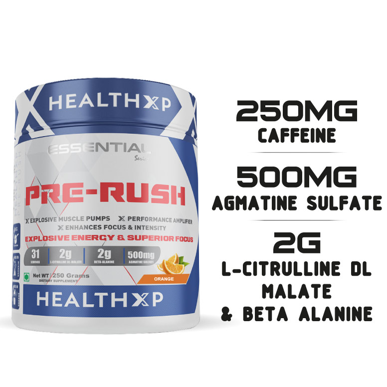 HealthXP Essential Series Pre Rush (Pre workout) 250 Gm