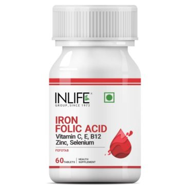 Inlife Chelated Iron Folic Acid Supplement with Vitamin C 60 Tablets