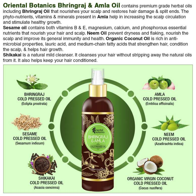 Oriental Botanics Bhringraj & Amla Oil For Hair 200ml1