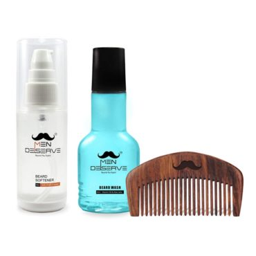 Men Deserve Daily Beard Care of Beard Softener (60ml), Beard Wash (60ml) and Sheesham Wooden Beard Comb (Combo)