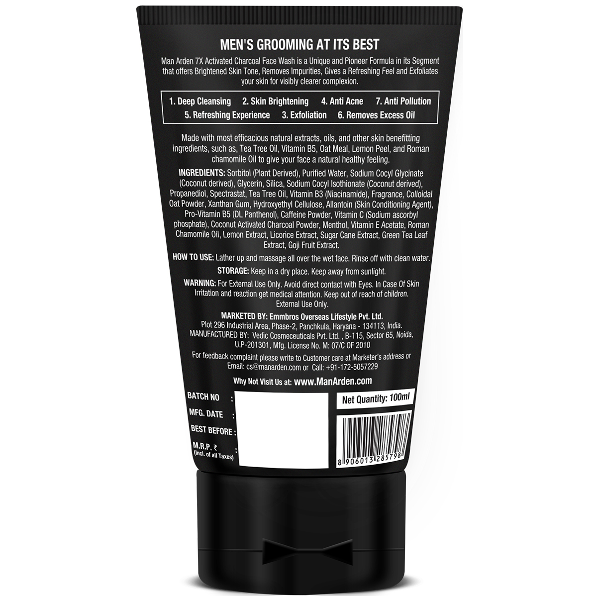 Man Arden 7X ACTIVATED CHARCOAL FACE SCRUB 100ML – INFUSED WITH VITAMIN C & MENTHOL1