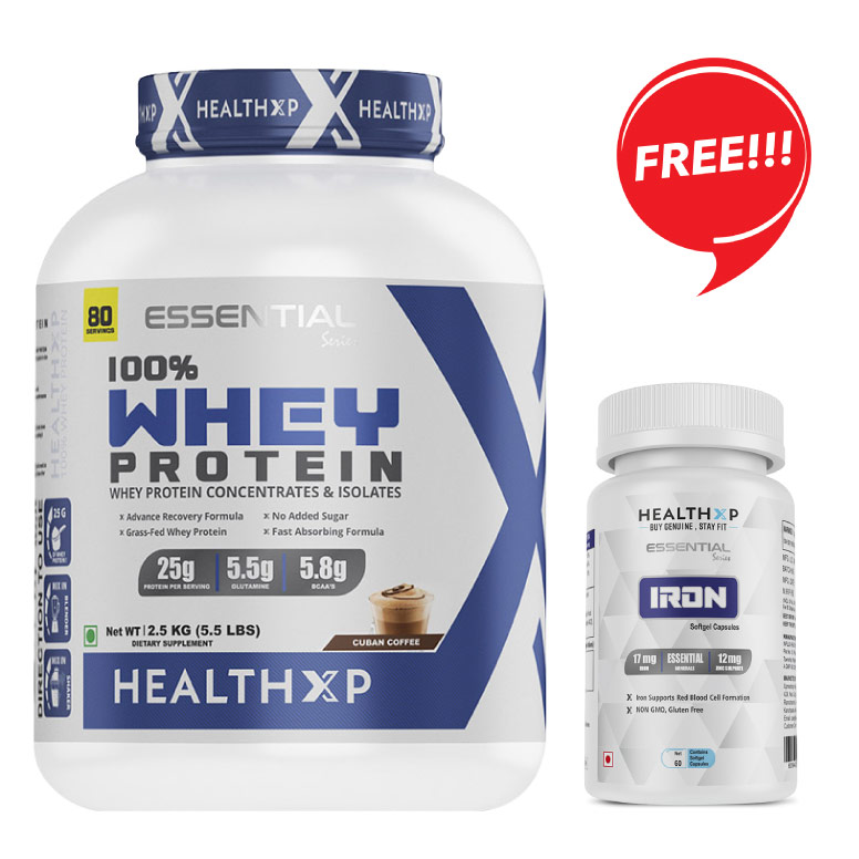 HealthXP 100% Whey Protein 2.5Kg / 80 Servings / 25gms Protein Per Servings + FREE HealthXP Iron 29mg, 60 Capsules