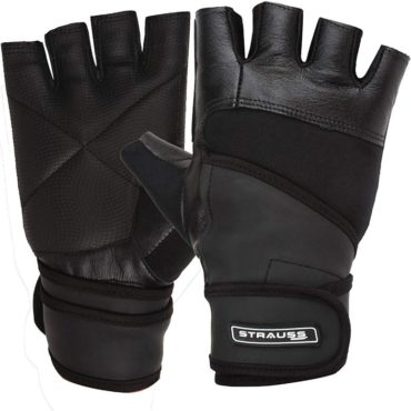 Strauss-Leather-Finger-Cut-Gym-Gloves-With-Wrist-Wrap-Medium-Black