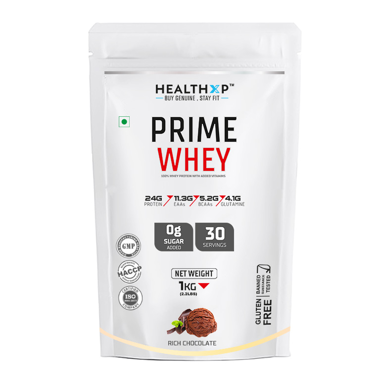 Buy Whey Protein Prime by HealthXP 100% pure 1Kg