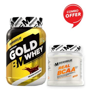 Big Muscles Nutrition Premium Gold Whey 1Kg + Big Muscles Nutrition Real BCAA 50 Serving (Combo)