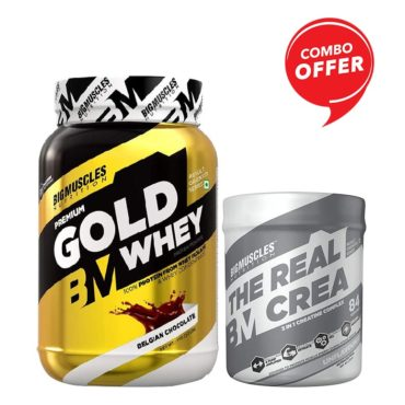 Big Muscles Nutrition Premium Gold Whey 1Kg + Big Muscles Nutrition The Real Crea 50 Servings (Combo)