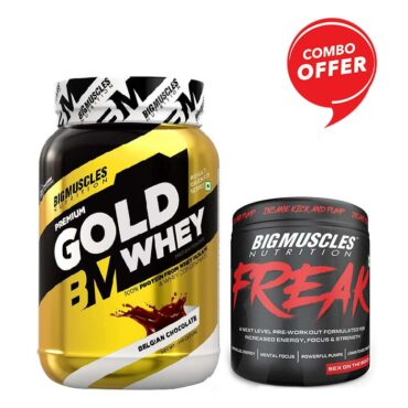 Big Muscles Nutrition Premium Gold Whey 1Kg + Bigmuscles Nutrition Freak 30 Servings (Combo)