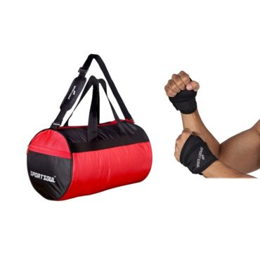 SportSoul Gym Bag and Wrist Support with Thumb Strap Combo