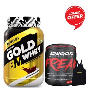 Big Muscles Nutrition Premium Gold Whey 1Kg (Free Stringer) + Bigmuscles Nutrition Freak 30 Servings (Combo)