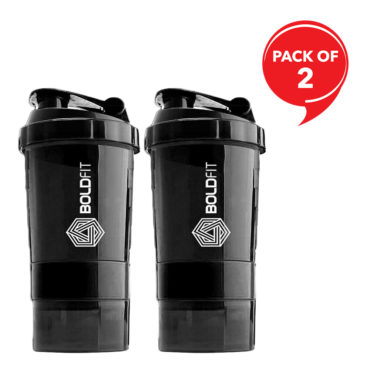 Boldfit Gym Spider Shaker Bottle 500ml Black (Pack of 2)