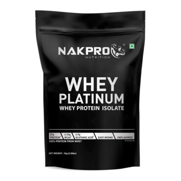 NAKPRO Nutrition PLATINUM Whey Protein Isolate 90% (Raw, Pure,USA made) Unflavoured-1Kg (33 Servings)-front