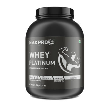 NAKPRO Nutrition PLATINUM Whey Protein Isolate 90% (Raw, Pure,USA made) Unflavoured-2Kg (66 servings)-front