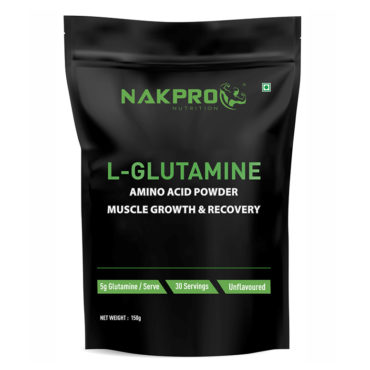 Nakpro Nutrition Advance Micronized L-Glutamine Powder For Muscle Growth and Recovery | Prevents Muscle Tissues From Breakdown - Unflavoured - 150g(30 Servings) -FRONT